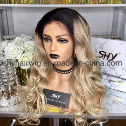 Blonde resaltar Lace Front Cabello pelucas de onda de cuerpo transparente frontal Puntilla Puntilla de parte peruana pelucas pelucas Remy 180