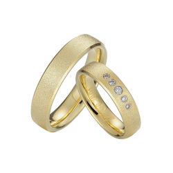 Fashion CZ Jóias Dourados par 316L de aço inoxidável Anel de casamento