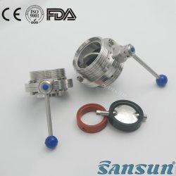 Санитарные ручной двухстворчатый клапан с черной прокладки силиконового уплотнения