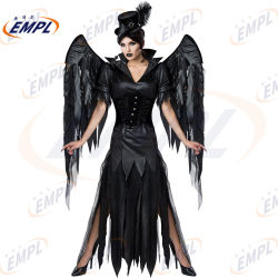 Уникальный дизайн темно-Angel Колдунья Скелетный вампир Хэллоуин Sexy Angel девочка костюм