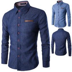 Китай для изготовителей оборудования на заводе осенью Осень синий моды теплой длинной втулки мужчин тонкий установите джинсы джинсовые рубашки