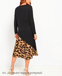 2019 Herbst / Winter Großhandel Leopard Print Split Kleid Lose Casual Ladies Rock Baumwolle Langarm Rundhalsausschnitt Fashion Kleid Für Frauen