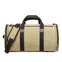衣服及び靴のためのキャンバスのDuffelの週末旅行袋のバックパックの二重用途袋
