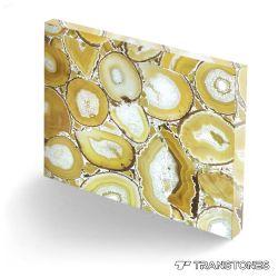 Acabados pulidas losas de piedra de Ágata Amarillo natural de la mesa