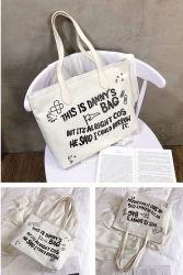 Estilo Simples Tote Lady saco tecido de lona com impressão de letra grande saco de praia