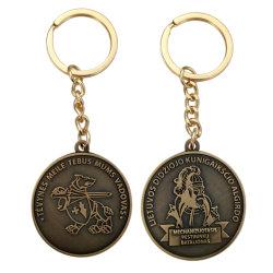 Geen minimum Bulk Custom Organizer Logo Antique Avengers Embossed Metal Sleutelhanger met munt (FTKC2242)