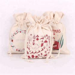 Cordão de algodão Dom Bag,Personalizar Wholesales Natal Ecológico de tecido reciclado Muslin reutilizáveis Caliça Lona Natural açúcar comercial da Sapata Saco promocional