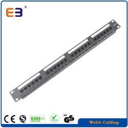 لوحة توصيل من نوع Cat5e ذات 24 منفذًا تتكون من وحدة واحدة ذات حامل مقاس 19 بوصة مزودة بمصباح LED