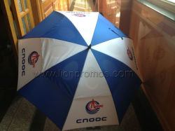 Petro 기름 Cnooc 로고에 의하여 주문을 받아서 만들어지는 섬유유리 우산 2개의 층 Stright 골프