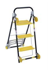 Color giallo Household Ladder con 2 Wheels