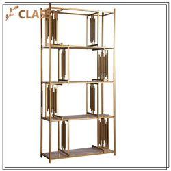 Décoration moderne d'étagère en métal doré étagère d'affichage