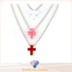 Cruz colgante Opal colocar Opal collares de plata esterlina 925 colorido Opal joyas (N6509)