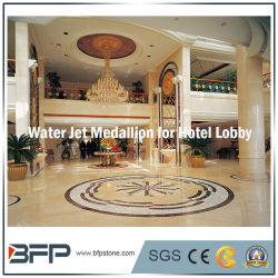 Chorro de agua de mármol redondo medallón de patrón de diseño para baldosas