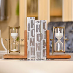 Reggilibri americani moderni dell'orologio della sabbia di legno e del metallo di stile