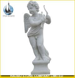 La decoración de jardín Cupid estatua de piedra de mármol blanco