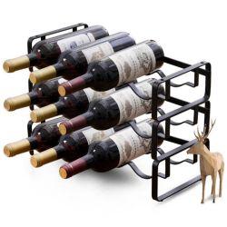 Soporte Soporte de almacenamiento de vino de mesa apilable encimera botella de vino de bodega para rack de la pantalla de metal