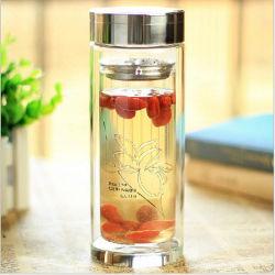 320ml tasse de thé Thé Bouteille de verre à double paroi avec boîte cadeau