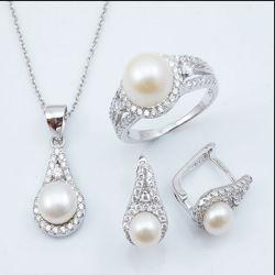 Silbernes Anhänger-Halsketten-Süßwasser-Perlen-Set der Schmucksache-S925