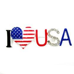 Broche de la bandera americana, rojo, blanco y azul metálico, simple, broche de EE.UU., el corazón Brooch Pin, el Día Nacional de Vacaciones Brooch