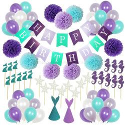 Decorazione di carta del partito della sirena di compleanno del tessuto POM Poms di Umiss