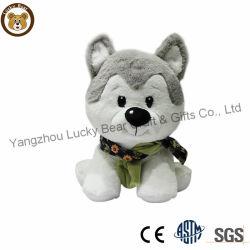 美しい高品質の静かに毛皮で覆われたぬいぐるみのプラシ天ファブリックハスキーな犬の赤ん坊のおもちゃ