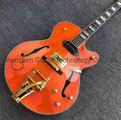 G Orange de corps creux de Guitare Jazz électrique avec l'or Bigsby Bridge