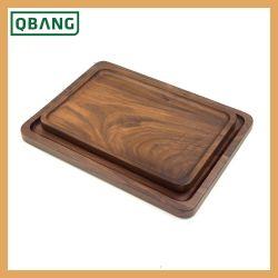 Té de madera personalizado servicio personalizado de alimentos de la bandeja de madera de bambú Tstorage