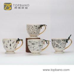 Подарочные чашки кофе керамическая кружка с бумагой наружное кольцо подшипника с помощью рукоятки ручного золота из Китая