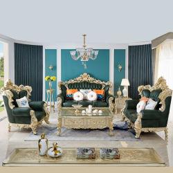 Esculpidas em Madeira Royal sofá de couro com mesa de Vidro para mobiliário doméstico
