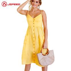 Weibliche Sommer-Brücke Sundress Baumwolle-MIDI-Kittel-Gelb Boho Strand-Frauen-beiläufige Kleider