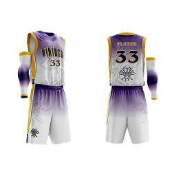 Disegno asciutto di sublimazione di misura di vendita calda la vostra propria immagine della Jersey di pallacanestro
