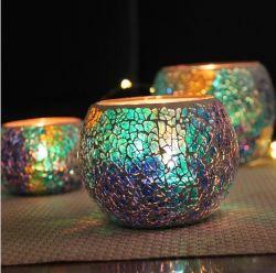 Mediterrâneo Conjunto Azul Three-Ball Vidro Mosaico suporte para velas