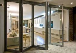 Vidro corrediço de porta padrão europeu porta rebatível hotel familiar de portas e janelas de Alumínio Liga Factory portas dobráveis