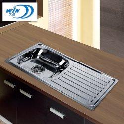 低価格小さい単一ボールの上の台紙のステンレス鋼の台所の流しは750*400mmを切る