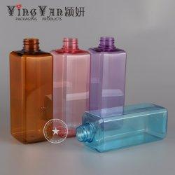 280/450/800ml Pet bouteille cosmétique plastique carrée pour le Shampooing et gel douche