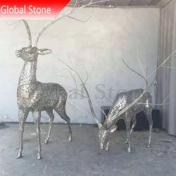 Artesanía de Arte Abstracto al aire libre Jardín de acero inoxidable ciervos esculturas (GSST-169)