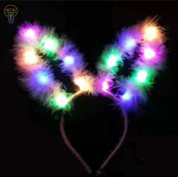 사랑스러운 가짜 기털 실내용 안테나 LED 머리띠 당 머리 굴렁쇠