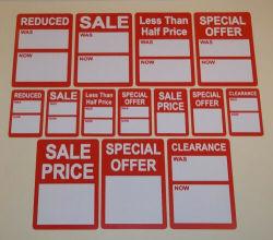Venta de color rojo brillante / juego / Reducción De Precio pegatinas, etiquetas adhesivas, etiquetas