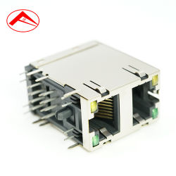 USB doble Jack Hembra a RJ45 Montaje PCB El conector RJ45