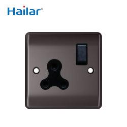 Níquel negro pulido Hailar ESTÁNDAR DEL REINO UNIDO 5 A 1 Módulo de toma de pared Round-Pin conmutado