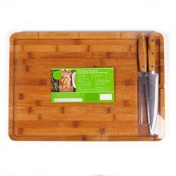 Nouveau design personnalisé organiques Planche à découper en bambou et de servir le bac avec rainure de goutte à goutte