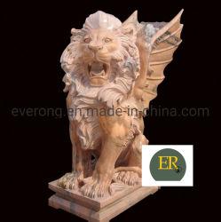 Outdoor grote natuurlijke graniet standbeeld Marble Wing Lion Sculpture voor Verkoop