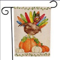 Impresos personalizados baratos bandera jardín de la acción de gracias