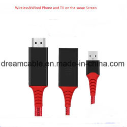 2 en 1 câble moulé Afficher Dongle pour Android Phone/iPhone