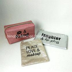 Rosa Coral increíble Glitter PU Leather dulce beso de amor de la bolsa de cosméticos de impresión