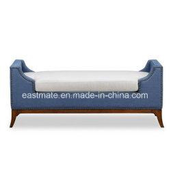 Custom отель мебелью синего Tufted ткань белого цвета мягкой кровати ноги табурет