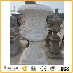 庭の装飾のための安く自然で白くか黄色の大理石の植木鉢の彫刻