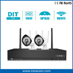 Draadloze 4CH 2MP kabeltelevisie Surveillance NVR Kits voor Home Security
