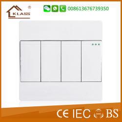 Commerce de gros moyen de quatre interrupteurs muraux double levier