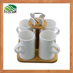Conjunto de xícara de café em cerâmica com suporte de bambu
